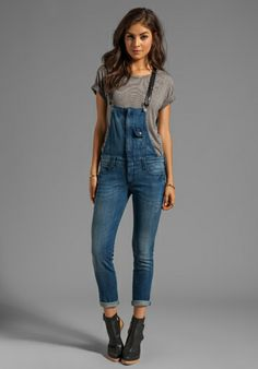 Vanessa's Closet - Frankie B. Jeans Hipster Overall with Leather Strap