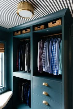 Ikea Pax Closet System Painted Blue - Transitional - Closet - Farrow and Ball Inchyra Blue Walk In Closet Ikea, Ikea Closet Hack, Ikea Pax Wardrobe, Closet Hacks, Closet Organization, Organizing Walk In Closet, Storage Closets, Wardrobe Closet, Closet Ideas