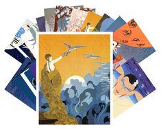 Postcards Pack [24 cards] Erte Art Deco Vintage Painting Illustration CC1019