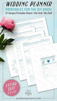 free wedding planner printables