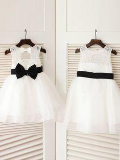A-line/Princess Scoop Sleeveless Bowknot Long Tulle Dresses,Flower Girl Dresses
