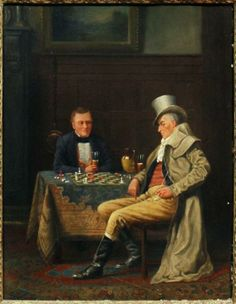 ROWLANDSON George Derville (1861 – 1930) Painting of Chess game.