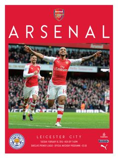v Leicester City. February 10, 2015. The official Arsenal Matchday programme.