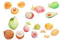 Watercolor Fruit Clipart Set 4