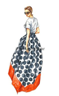**Please note that this is a sample illustration.** Getting your very own fashion illustration, tailored just for you with your own personal