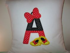 Mini Mouse Embroidered Monogram 14 x 14 Pillow by JosieeDesigns