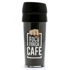 Foco, força, café - Copo Térmico - Azzurium Decorações e Presentes Criativos
