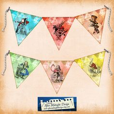 Alice Bunting No 6 Bunting digital by aftermidnightdesign on Etsy