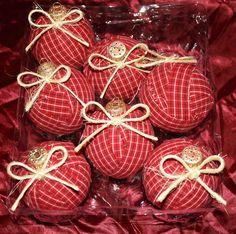 Country Farm House Western Americana USA Decor Rag Ball Xmas Ornaments Red | eBay