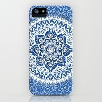 iPhone 5s & iPhone 5 Cases featuring Yin Yang Mandala Pattern (Blue & Yellow) by Laurel Mae