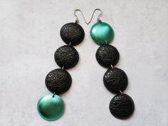Long teal and black earrings black mismatched earrings | Etsy