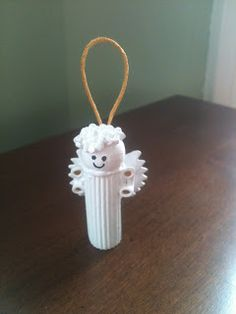 Easy Pasta Angel Ornaments.  12 cents each!  Cheap fun christmas project/craft for santa shop or holiday gift giving.  http://bargainbecky.blogspot.com/2012/11/santa-shop-creations-pasta-angel.html
