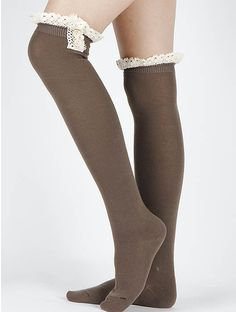 General Merchandise / Lace Top / Thigh High Socks / Button Accent / 18 Inch Long / One Size / Nickel And Lead Compliant