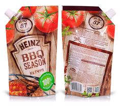 Getbrand_Heinz_BBQ-2 Food Packaging, Packaging Design, Meat Packing, Ketchup, Baby Food Recipes, Seasons, Corporate Identity, Product Design, Sauces