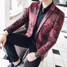 2018 Americana Hombre Stage Clothes For Singers Mens Burgundy Blazers Red For Mens Flower Printed Blazer Masculino Slim Fit is part of Burgundy blazer GenderMenItem TypeBlazersClosure TypeSingle - Blazer Fashion, Mens Fashion Suits, Mens Suits, Suit Men, Mens Burgundy Blazer, Burgundy Shoes, Men Blazer, Gray Blazer, Burgundy Color