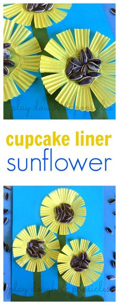 These Cupcake Liner Sunflowers are a fun craft for kids. Daycare Crafts, Fun Crafts For Kids, Summer Crafts, Toddler Crafts, Fall Crafts, Art For Kids, Spring Activities, Art Activities, Cupcake Liner Crafts