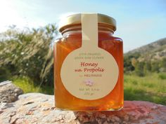 Organic Greek Raw Flower Honey With Propolis - Organic & Natural Remedy - Antioxidant - Immune System Boost - - by Melirrous on Gourmly Thyme Flower, Bee Propolis, Stomach Ulcers, Boost Immune System, Wound Healing, Unique Recipes, Glass Jars, Natural Remedies, Greek