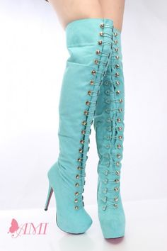 Mint Faux Suede Hook Loop Thigh High Boots