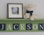 "Navy and Green Nursery Baby Boy Name JACKSON on 30"" Light Green Shelf - 7 Wood Wall Letters"