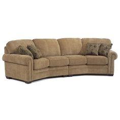 Bennett Conversation Sofa Curved Long Casual Ethan - Conversation sofa ethan allen bennett roll arm