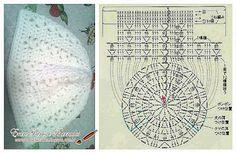 Touca (Gorro) de Crochê com Gráfico - Entre Panos e Barrados Artesanato em Crochê e Pintura