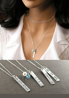 Personalized Bar Necklace Special Date Name Tag by DorotaJewelry