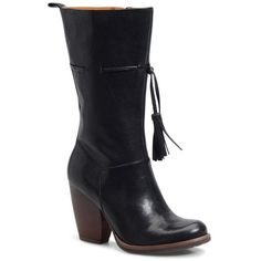 Women's Kork-Ease 'Umbriel' Boot (9.910 RUB) ❤ liked on Polyvore featuring shoes, boots, black leather, leather western boots, block heel boots, leather cowgirl boots, mid calf leather boots and cowgirl boots