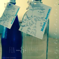 #recycle #reuse   Even though Christmas is now officially over, I would still like to share a fun and festive way to repurpose wine bottles. I love to reuse them as chic water bottles. For my Christmas Eve dinner ...