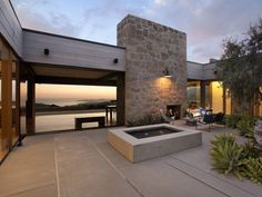 Brilliant Grey Concrete Flooring Brightened By Modern Outdoor Lighting In Stone Wall