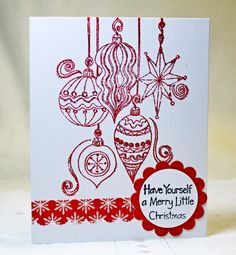Christmas Ornaments Rubber Stamp card