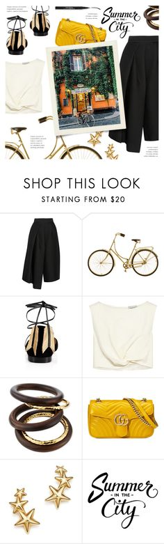 """""""Summer in the city"""" by galacticgirl ❤ liked on Polyvore featuring TIBI, Christian Louboutin, Rachel Comey, NEST Jewelry, Gucci, Bloomingdale's and Trish McEvoy"""
