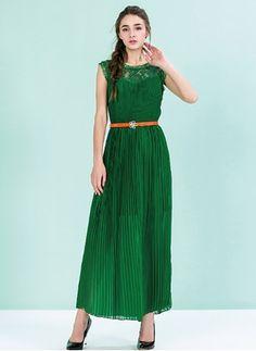 Chiffon Lace Solid Sleeveless Maxi Casual Dresses