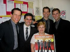 Robin Becker, the visitor to Jersey Boys on Broadway, with Christian Hoff, John Lloyd Young, J. Robert Spencer and Daniel Reichard. John Lloyd Young, Jersey Boys, Robin, Musicals, Broadway, October, Christian, Celebrities, Celebs