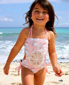 Our favorite one piece body type with the sweetest crochet tummy. Tie accents around the neck and on the side of the bottoms. We just can't get enough of this suit. XS = Newborn - 1 Year S = 2 Year Preteen Girls Fashion, Kids Outfits Girls, Cute Girl Outfits, Baby Girl Fashion, Little Girl Dresses, Kids Fashion, Mother Daughter Fashion, Baby Swimsuit, Trendy Kids