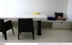 Wandbank & tafel - Justus en Tjebbo - design Justus Felthuis - tafels - bankjes - eetbanken - wandbanken