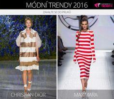 Módní trendy 2016 – zahalte se do pruhů. (Zleva: Christian Dior a Max Mara.)