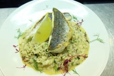 This evenings special. A filleted side of line caught St.Ives bay sea bass, served with a white crab meat and prawn risotto.