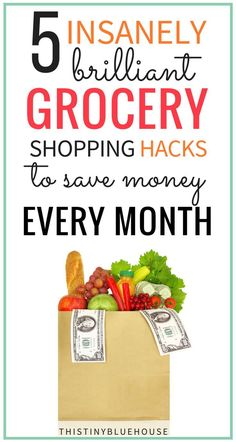 5 insanely brilliant grocery shopping hacks to save money every month without using coupons. These strategies are easy to implement and guaranteed to help you scale back your grocery budget #moneysavingtips #tipstosavemoney #howtosavemoneyongrocery #groceryshoppingtips #tipstosavemoneyongrocery #reducinggrocerybudget