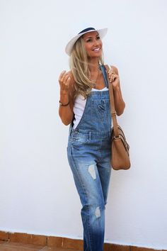 look do dia, ootd, look of the day, outfit, denim jumpsuit, overall, dungaree, macacão de ganga, look casual, ténis slippers, slip-on sneakers, chapéu panamá, panama hat, satchel bag, mala, pimkie, h&m, primark, sfera, style statement, dicas de imagem, tendências, primavera verão 2014, blog de moda portugal, blogues de moda portugueses