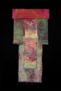 Kris Worthington ,  Kimono, Hand dyed fabric, Machine stiching, hand stiched and beaded  43.5 x 22 in