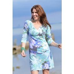 Icy-Bloom Aqua (3753) ~ Classic 3/4 Sleeve Sweet Heart V-Neck Dress