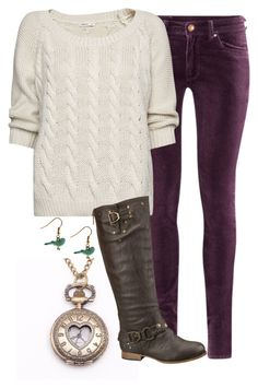 """""""Teacher Outfits on a Teacher's Budget 59"""" by allij28 ❤ liked on Polyvore featuring H&M, MANGO, skinny pants, chunky sweaters and knee high boots"""