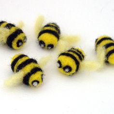 5 Needle Felted Bees