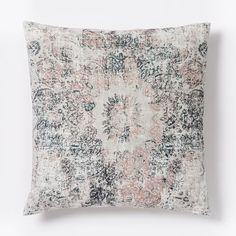 Distressed Ornament Velvet Pillow Cover - Rosette Grey/dark blue very light pink bedroom color combo?