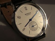 """Rodina small seconds Nomos """"homage"""" - appears to be a very nice dress watch for $120, also available in black and blue dials"""