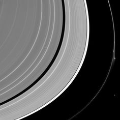 """A bright disruption in Saturn's narrow F ring suggests it may have been disturbed recently. This feature was mostly likely not caused by Pandora (50 miles or 81 kilometers across) which lurks nearby, at lower right. More likely, it was created by the interaction of a small object embedded in the ring itself and material in the core of the ring. Scientists sometimes refer to these features as """"jets."""""""