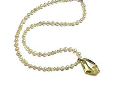Pearl Necklace Set Swarovski Crystal by SRyanJewelryDesigns