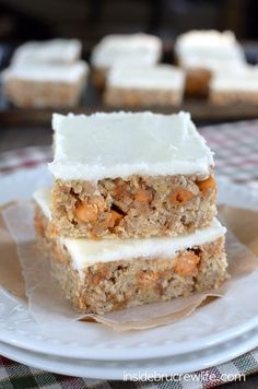 Frosting and butterscotch add a fun twist to these easy zucchini bars.