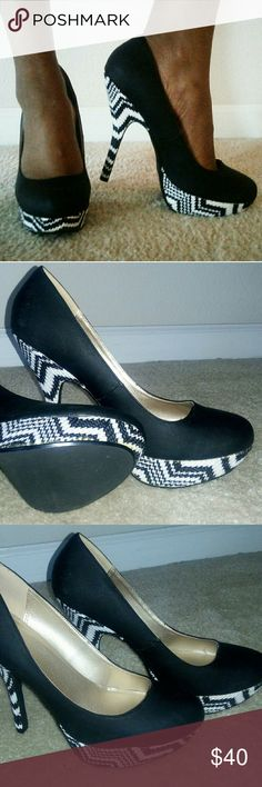 Shoes Black and white , 5' platform heels, gently worn once. Qupid Shoes Platforms