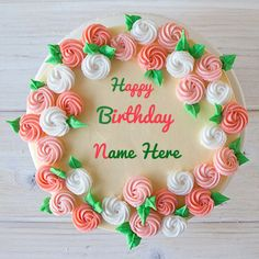 Homemade Birthday Cake With Your Custom Name Text.First Birthday Cake With Name.Flower Birthday Cake With Custom Text.Home Made Beautiful Cake With Your Name